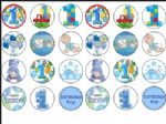 24 x mixed Baby boy 1st Birthday wafer cake toppers